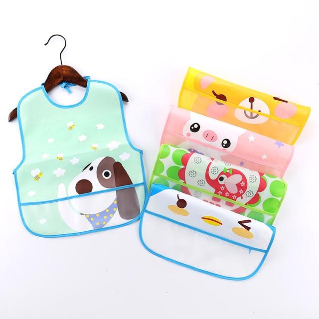 EVA Plastic Waterproof Baby Bibs Cartoon Kids Apron Baby Girl Boy Adjustable Bibs Burp Cloth Baby Feeding Smock Accessories