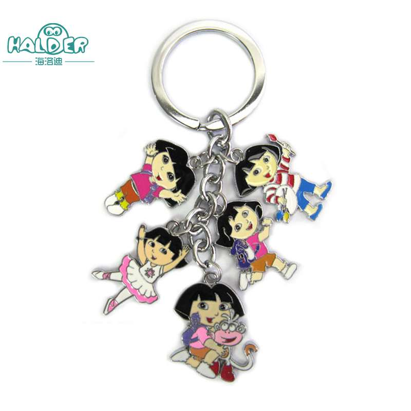 Halder Cartoon Dora the Explorer Keyring Bag Anime Animation Figures Keychains Characters Gadgets Pendants Trinkets Accessories