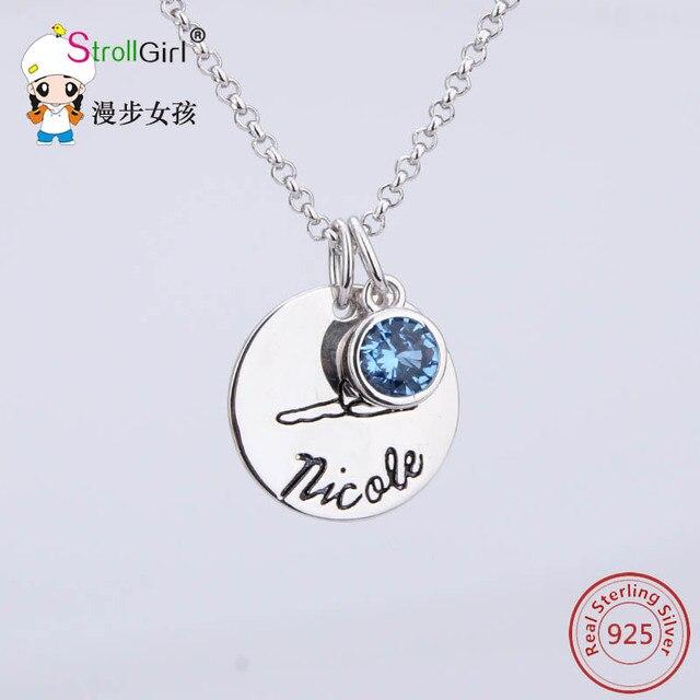 Новое Прибытие Стерлингового Серебра 925 Подвески Ожерелье Круглый Синий Камень Ювелирные Изделия Письмо Кулон Колье Цепи для Женщин 925 Колье