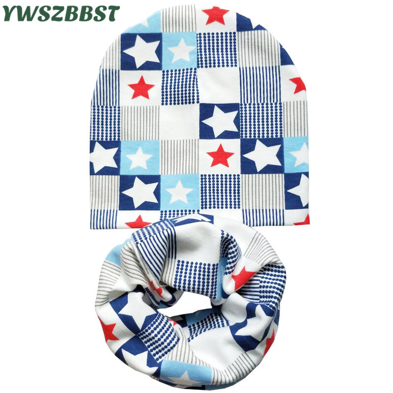 New Fashion Autumn Winter Cotton Hat For Children Boys Girls Hat Scarf Set Crochet Baby Hat Kids Knitted Beanies Spring Baby Cap