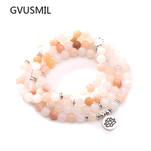 New Design Women`s Beads Bracelet High Quality Pink Aventurine Yoga or Necklace Trendy Jewelry