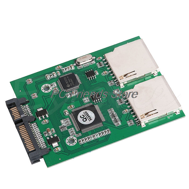 2 Port Dual SD SDHC MMC RAID to SATA Converter Adapter For Any Capacity SD Card-PC Friend