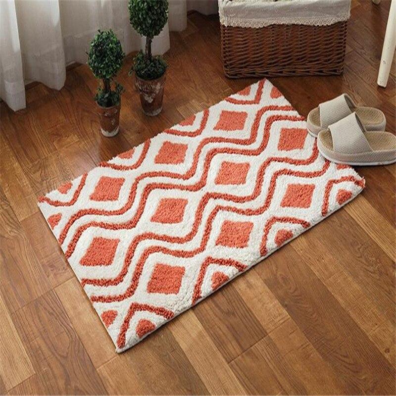 Livraison gratuite 50x80 cm tapis en coton doux tapis de bain salle de bain toilette anti-dérapant porte tapis absorption d'eau