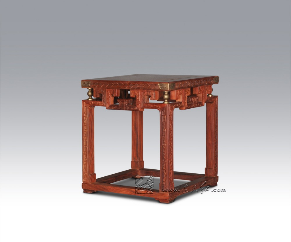 Stools with Chi Design Living Room Low Console Table Burma Rosewood Chinese Classical Antique Furniture Solid Wood Square Bench small square wooden stool carved jade beads on the edge of the bench burma redwood classical furniture kids chair china rosewood