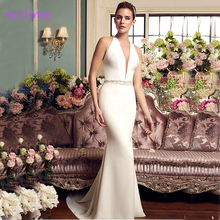 Sexy Mermaid Long Gowns Wedding Dress V-Neck Sweep Train