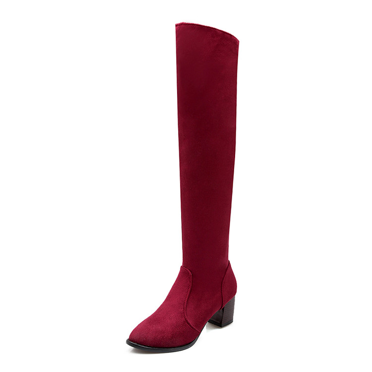 winter boots women over the knee boots female thigh high boots red big size 44 fashion high heel shoes woman free shipping &C109 winter boots women over the knee boots genuine leather boots thigh high boots female 2017 heel fashion black shoes woman