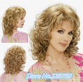 New Arrival - women's golden yellow Medium length curly hair HEAT - RESISTANT FIBER Quality Assurance  fast Shipping