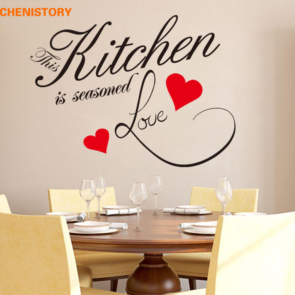 3m Pvc Waterproof Home Decor Wall Stickers Vertical: DIY Kitchen Love Red Heart Wall Sticker Restaurant