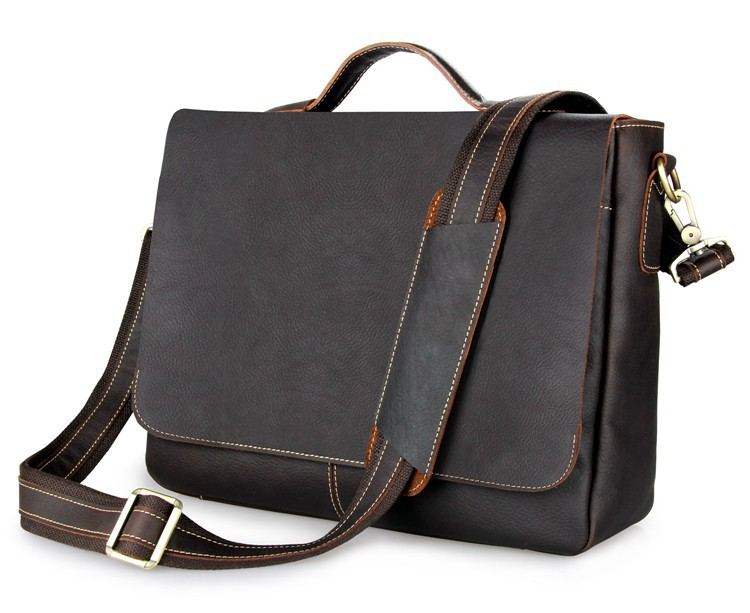 Nesitu Vintage Genuine Leather Briefcase Portfolio Cowhide Men Messenger bags 14 inch Laptop Bag #M7108