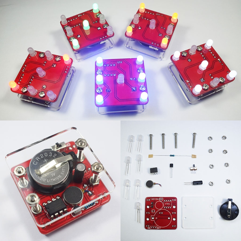 OOTDTY DIY Swing Shaking LED Dice Kit With Small Vibration Motor Diy Electronic Kits