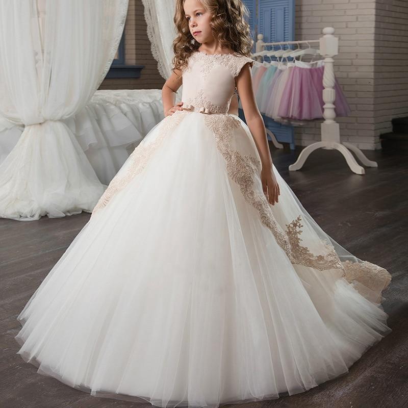 Robe de mariée fille robe de princesse fille robe de soirée Champagne fleur robe de bal vêtements d'anniversaire pour enfants 2-13 ans