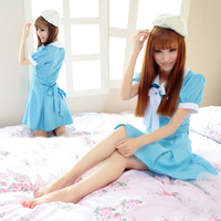 Anime K ON! Japan Maid Dress Sexy Cosplay Costume Blue color Waitress Suit Women Girls Cute Clothing Dress + Hat Uniform Outfit