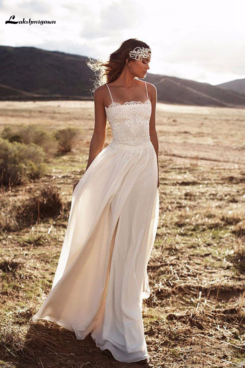 Beach Wedding Dresses 2017 : Summer autumn beach wedding dresses spaghetti straps sweep train