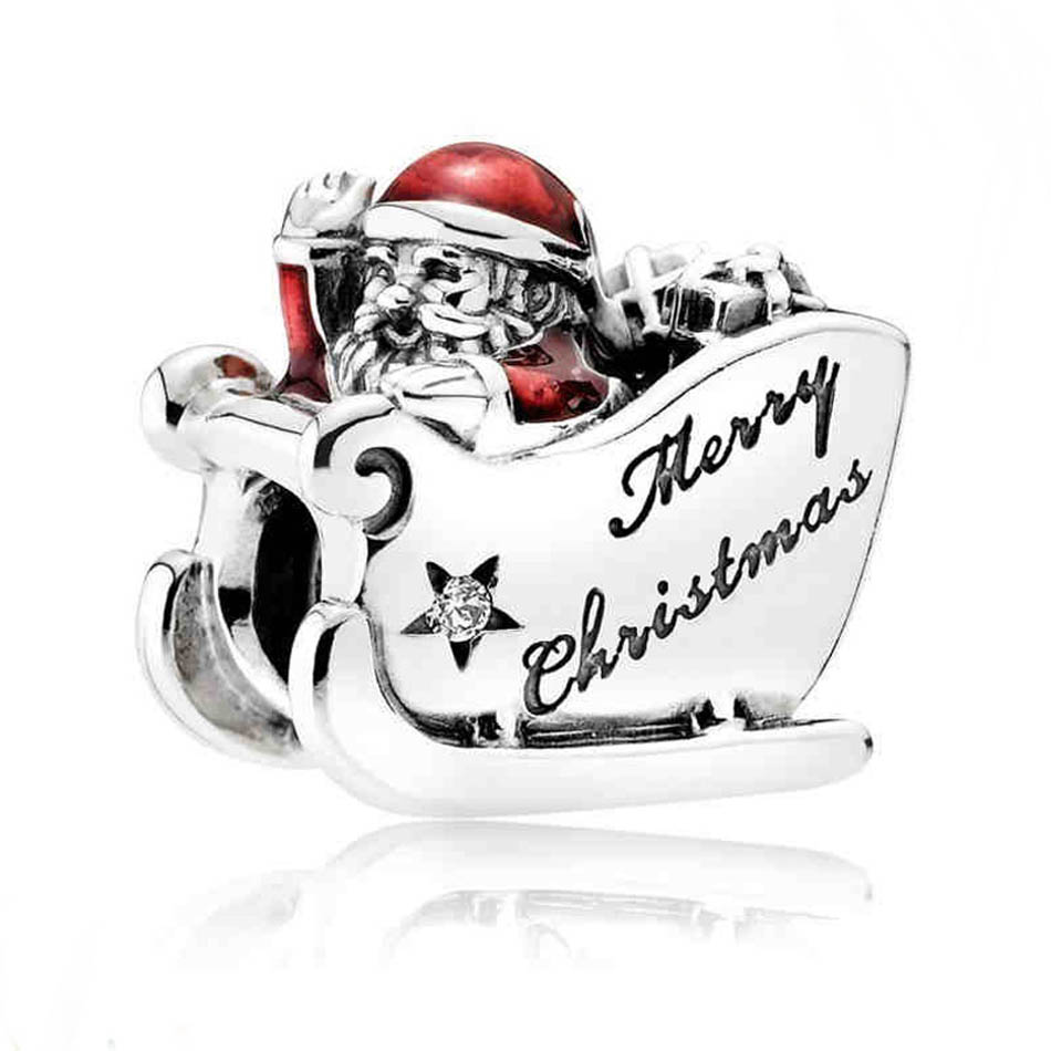 Authentic S925 Sterling Silver DIY Jewelry  Sleighing Santa Merry Christmas Charm fit Pandora Bracelet Bangle Girl GiftAuthentic S925 Sterling Silver DIY Jewelry  Sleighing Santa Merry Christmas Charm fit Pandora Bracelet Bangle Girl Gift