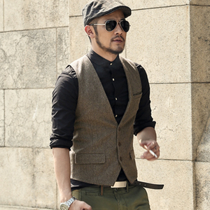 Image 2 - men casual sleeveless jacket coat mens formal waistcoats dress suit vest slim Three button Woolen vest British suit vest M87