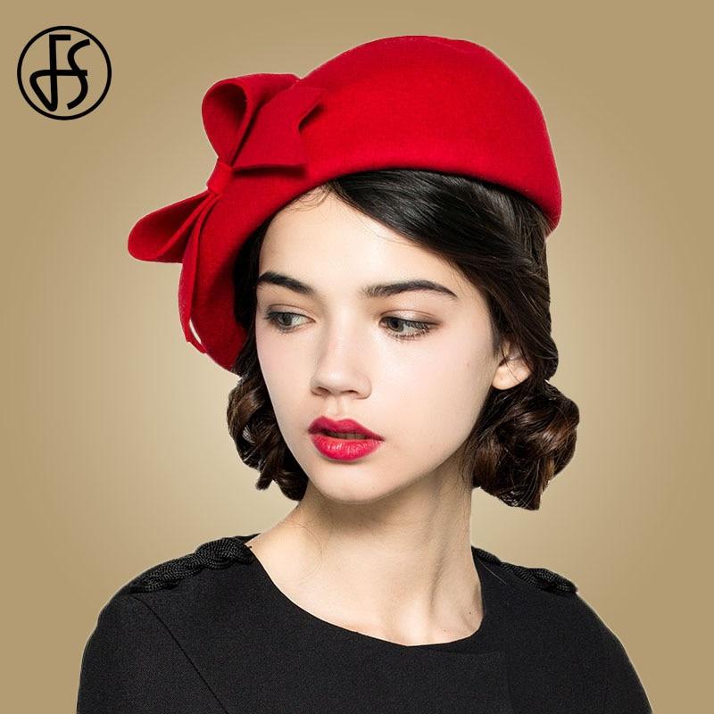 FS Elegant 100% Wool Felt Fedora White Black Ladies Red Hats Wedding  Fascinators Women Bowknot Berets Caps Pillbox Hat Chapeau 8d17b15b13b