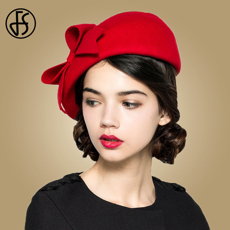 FS elegante 100% fieltro de lana sombrero negro blanco señoras rojo  sombreros boda tocados de mujeres Bowknot boinas gorras sombrero 02ee0b14997