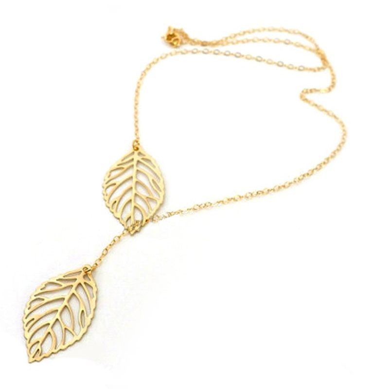Women Fashion Leaves Pendant Collar Statement Choker Necklaces Silver Gold Color Necklace For Woman Girls Weddings Party Gifts