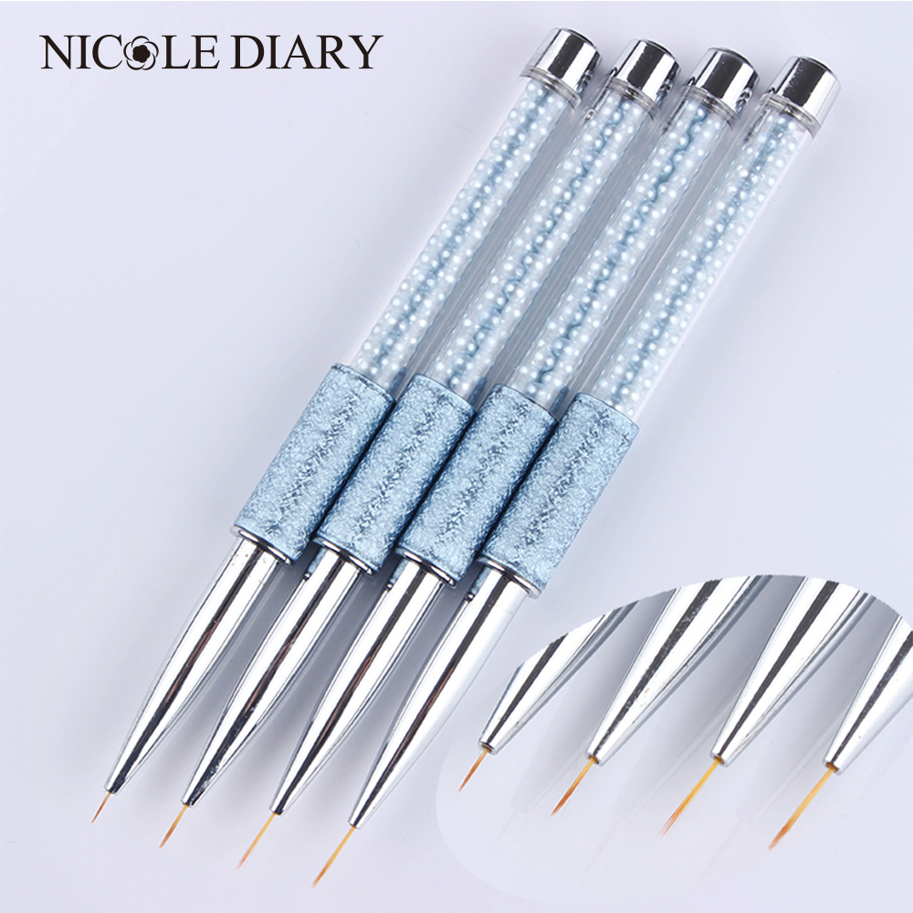 1 Pc Nail Art Liner Drawing Pen Escova 5mm/7mm/10mm/13mm Azul Alça de strass Manicure Ferramenta Da Arte Do Prego