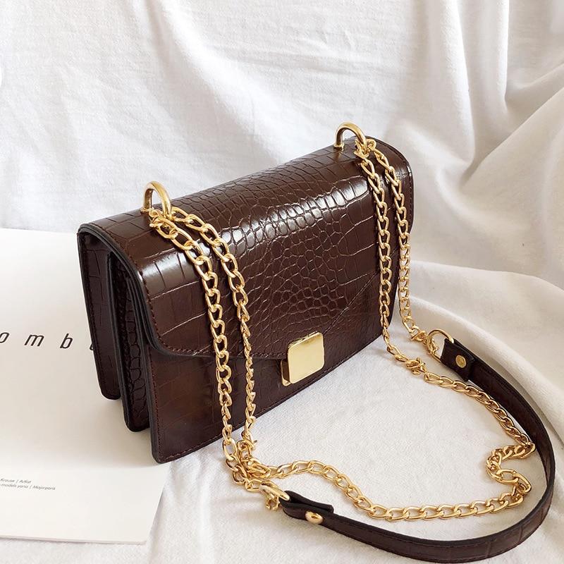 Women Crocodile Pattern Crossbody Bags For Women Small Chain Handbag Small Bag PU Leather Hand Bag Ladies Designer Shoulder Bags