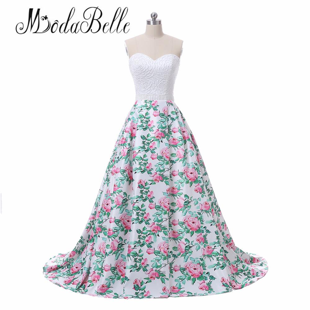 cd52eb107d modabelle Floral Print Pink Long Prom Evening Dress Women Vestidos De Festa  2018 Real Photos Sweetheart Beaded Formal Gowns
