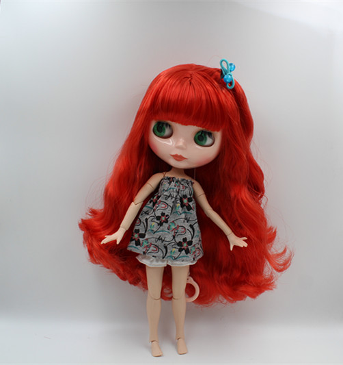 Blygirl Blyth doll Tomato red bangs hair nude doll 30cm joint body 19 joint DIY doll can change makeup blyth nude 30cm fashion red and black boneca cabelos longos bonecos colecionaveis doll toys for children girls