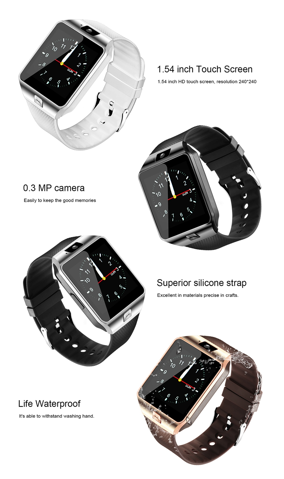 Dz09 Bluetooth Smart Watch Android Phone Relogio Support Sim Tf Card