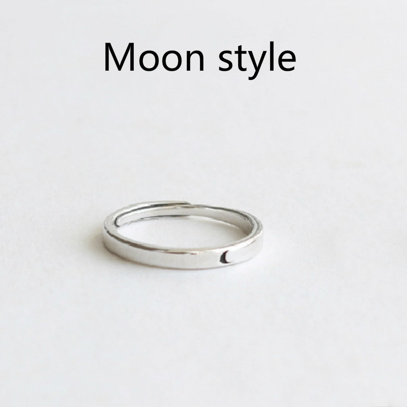 Silver Ring Simple Style Moon Sun Adjustable 925 Couple Rings For Girls Boys Best Friend Jewelry 5