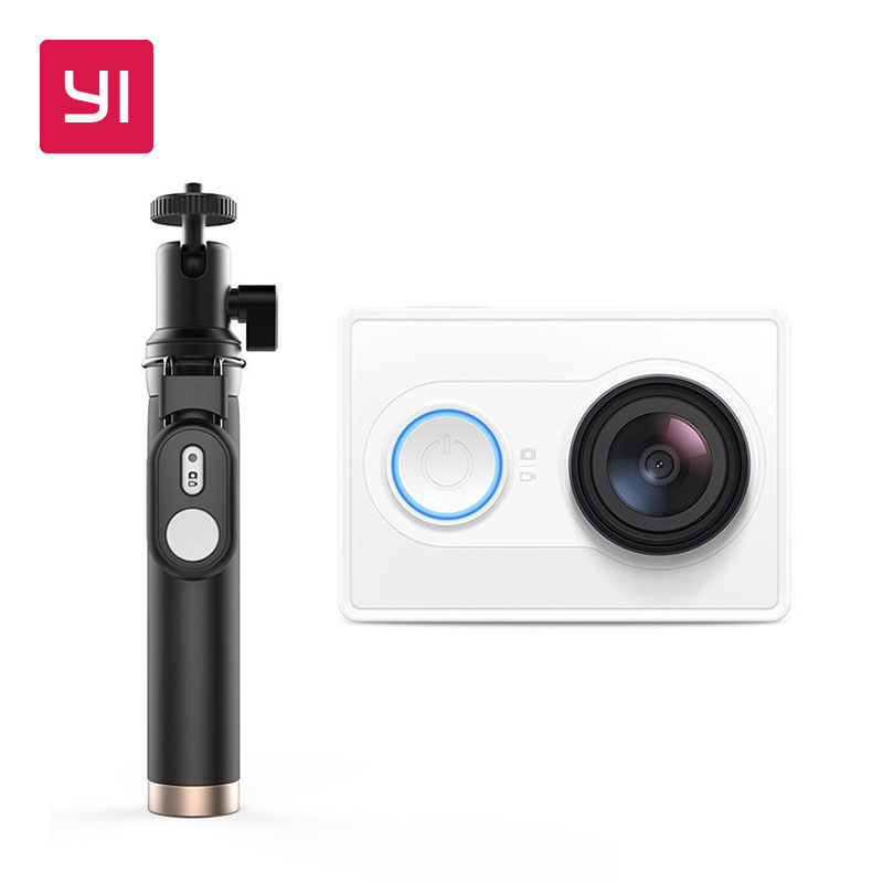 YI 1080P Action Camera With Selfie Stick White High Definition 16 0MP 155 Degree Angle 3D