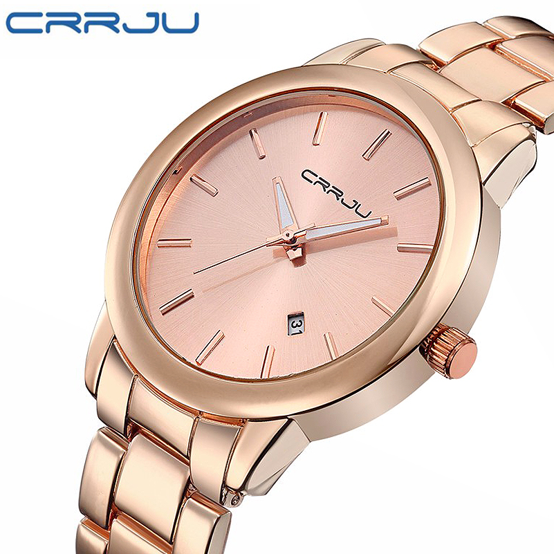 CRRJU Luxury Brand Stainless Steel Watch New Arrivals High Quality Women Dress Watchs Fashion Wrist Gift Watch Wristwatches  2016 new high quality women dress watch crrju luxury brand stainless steel watches fashion wrist gift watch men wristwatches