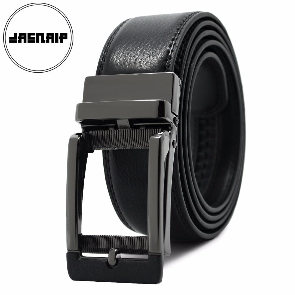 JACNAIP Men's ratchet click   belt   genuine leather dress   belt   for men jeans holeless automatic sliding buckle black   belts