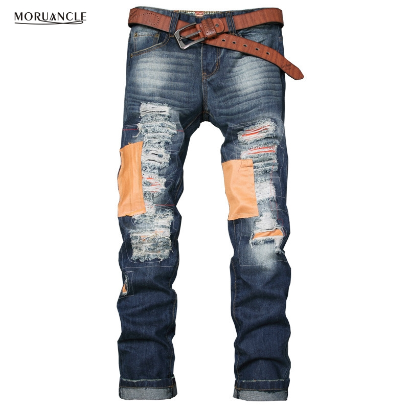 ФОТО Fashion Destroyed Patched Jeans Pants Man 2017 Spring Ripped Denim Joggers With patches Designer Slim Fit Distressed Trousers