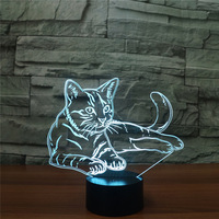 Lovely Cat 3D Night LightRemote Touch Swith LED Animal 3D Lamp 7 Colors USB 3D Illusion