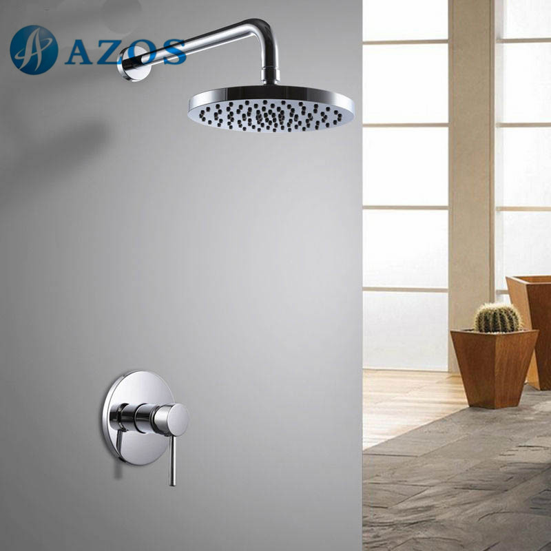 ФОТО Bathroom Single Handle Shower Trim Valve Body Complete Kit Minimalist Round Shower Head Polished Chrome Color LYTZ056