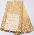 Latest french lace 2017 gold bridal beaded trim high quality french lace embroidery nigerian lace fabrics for wedding  PGC538B-4