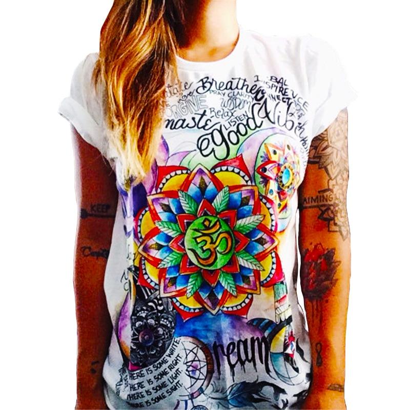 CDJLFH 2017 Summer Top Shirts Women T Shirt Graffiti Print Tshirt Plus Size T-shirt Tees Tops Fashion White Black S M L XL XXL(China)