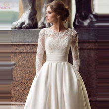 Long Sleeves Wedding Dresses 2019 Modest Lace Appliques Pleats Ball Gown Scoop Neck Button Satin Elegant Bridal Sweep Train