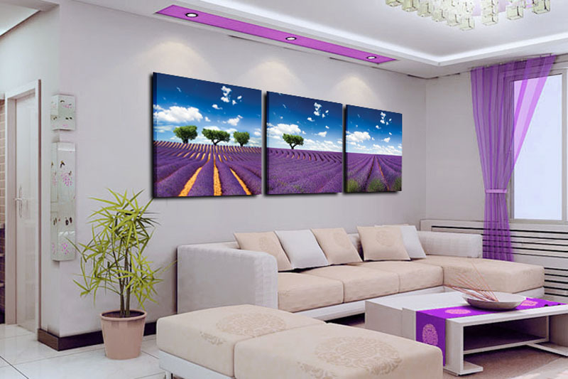 Hand Painted Modern Oil Painting On Canvas Lavender Landscape Wall Paintings For Living Room Decor Pictures Purple In Calligraphy