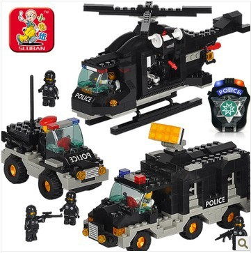 ФОТО Sluban B2100 City police riot swat helicopter 3D Construction Plastic Model Building Blocks Bricks Compatible With Lego