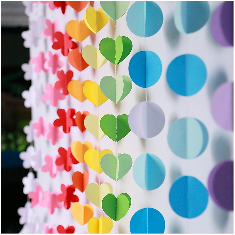 2M 3D Paper Garland Colorful Heart Bunting Banners Festivals Wedding Birthday Party Decor Room Wall Hangings Props Decoration