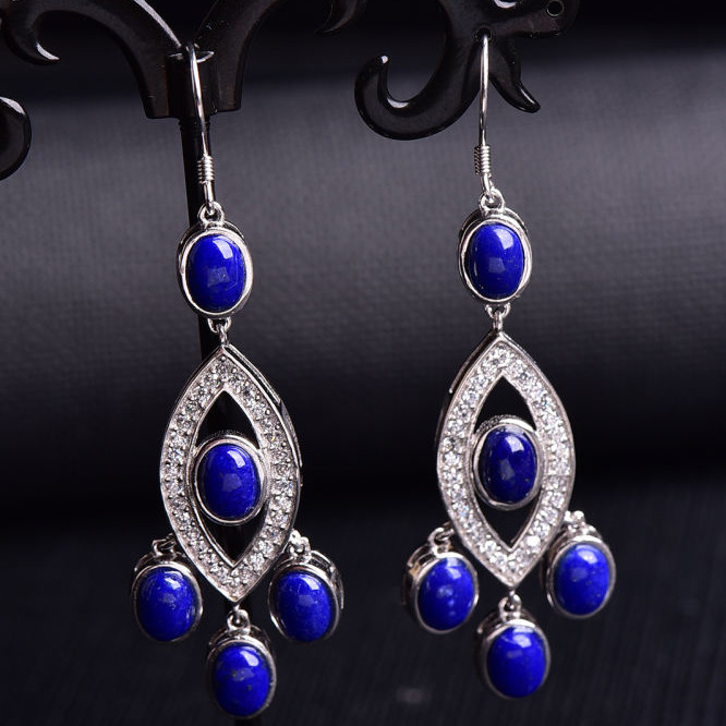 Multicolored jewelry 925 silver inlaid with Lapis Lazuli Earrings simple and elegant wholesale one generation great designer hand woven lapis lazuli pearl tassel earrings female blue simple london brand new indian jewelry ls07