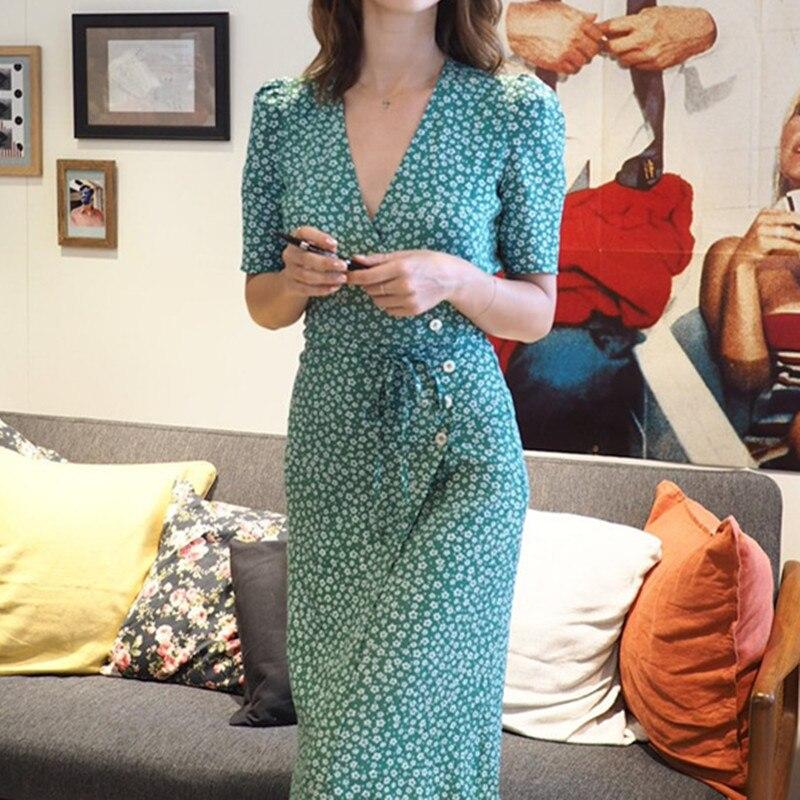Femmes imprimé Floral à manches courtes taille boutons doux Viscose Sexy doux mince Wrap robe mi-longue avec ceinture