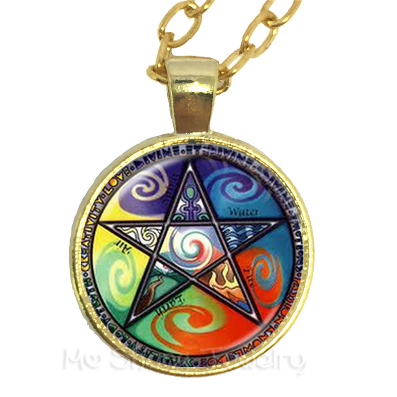 Mystic Pentacle Satanic Necklace Glass Cabochon Goth Wiccan Star Accessories Pray For Happiness Gift For Friends