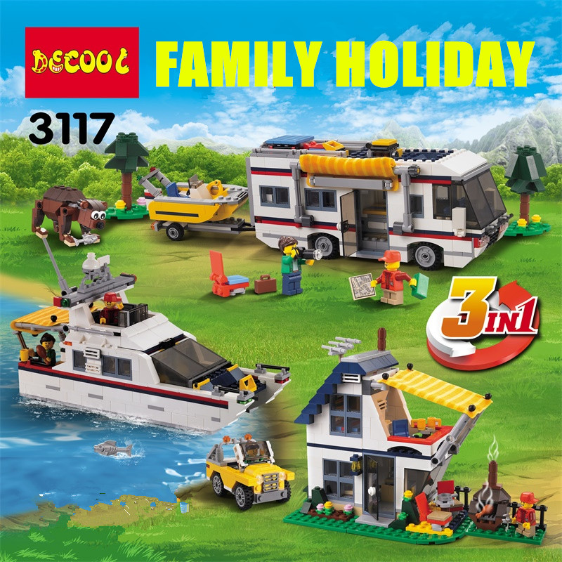 DECOOL 3117 City Creator 3 in 1 Vacation Getaways Model Building Blocks Enlighten DIY Figure Toys For Children Compatible Legoe 7112 decool batman chariot superheroes the batwing model building blocks enlighten diy figure toys for children compatible legoe