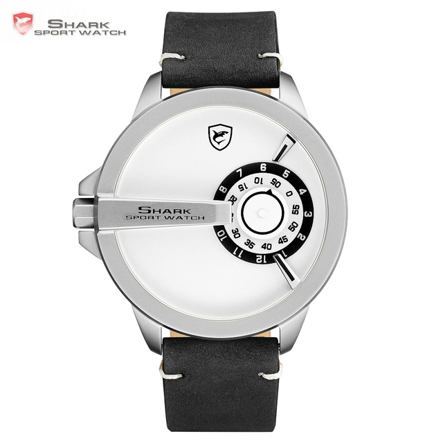 2018 SHARK Sport Fashion Quartz Watch Men Watches Top Brand White Turntable  Analog Leather Band Hodinky Relogio Masculino  SH565 d4669ca8ab6
