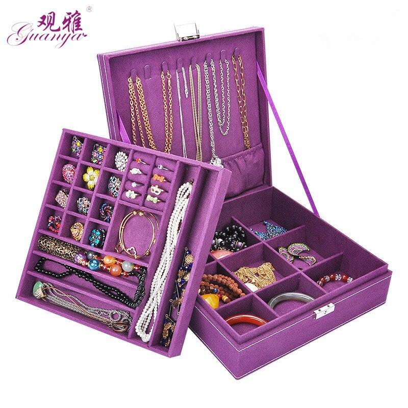 Gran mejor venta moda franela cuadrado joyero diseño Simple 2 capas organizador de maquillaje gargantilla anillo collar caja de almacenamiento