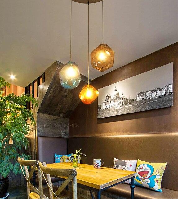 Eenvoudige lamp Steen glas hanglampen kleurrijke binnenverlichting ...