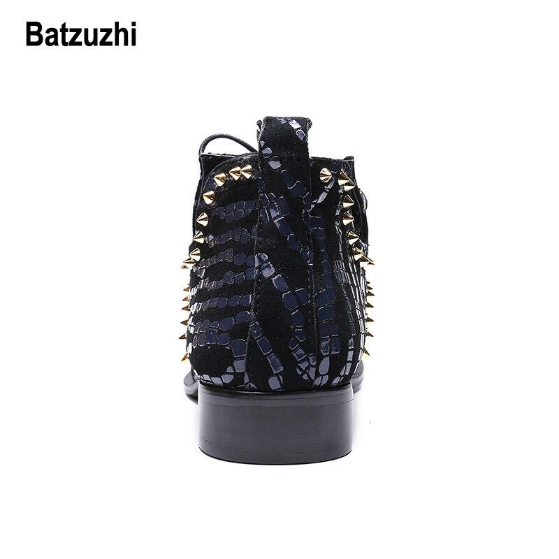 Hechos Partido Hombres Remaches Zapatos Con Hombre De Azul Señaló A Punta Cuero Us12 Negro Italian Botines Cordones Batzuzhi Metal Hombre Botas Mano ABtZwqnU