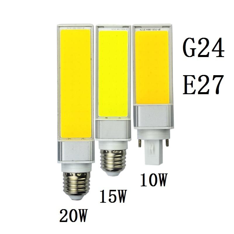 bombilla <font><b>G24</b></font> <font><b>LED</b></font> Bulbs 10W 15W 20W E27 <font><b>LED</b></font> Corn Lamp Warm White <font><b>COB</b></font> Spotlight 180 Degree 110V 220V Horizontal Plug Light Lampara