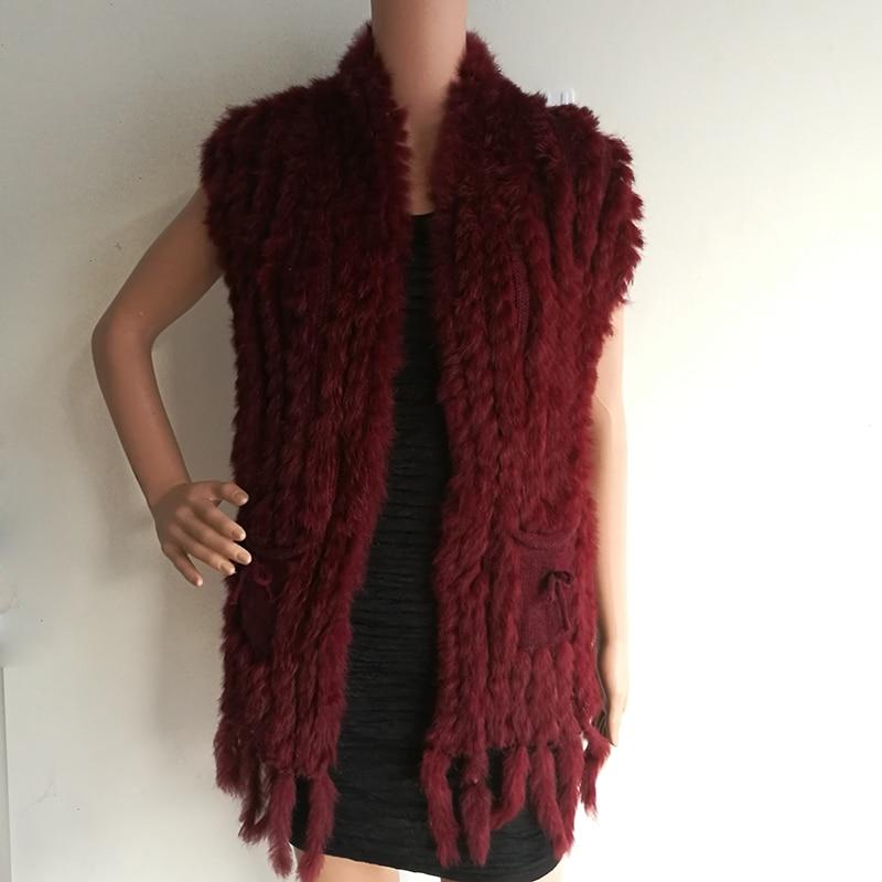 HSPL Knitted Women Fur Vest Hot Sale Fashion Long Cashmere Knitted Real Fur Tassel Pocket Rabbit Vest colete feminino franjas